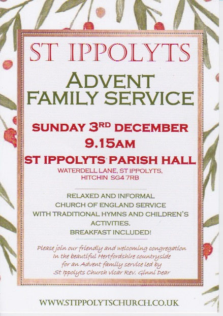 Advent Family Service, Sunday 3rd December at 09:15 in St Ippolyts Parish Hall