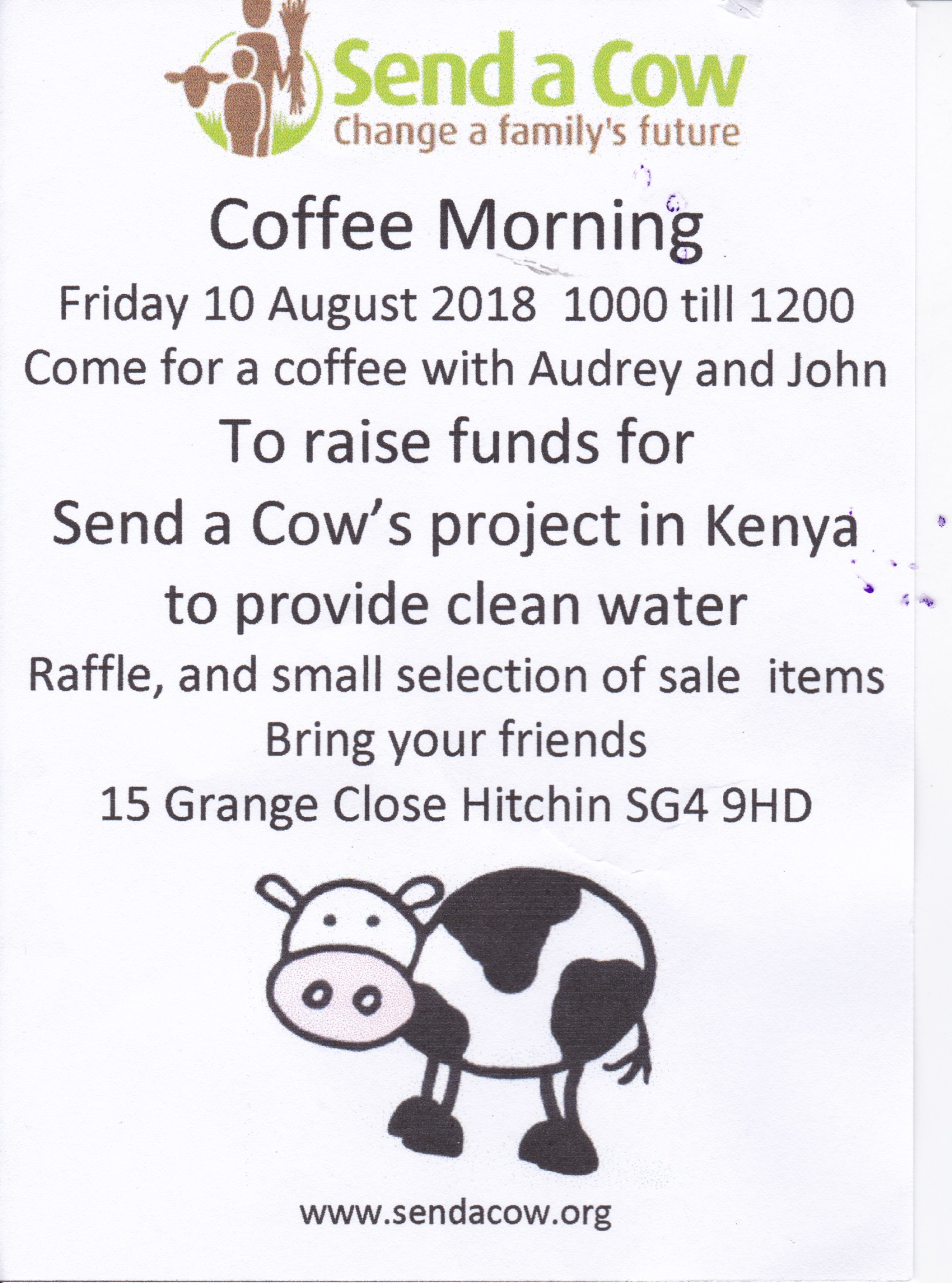 Send a Cow Coffee Morning  - 12th August 2018