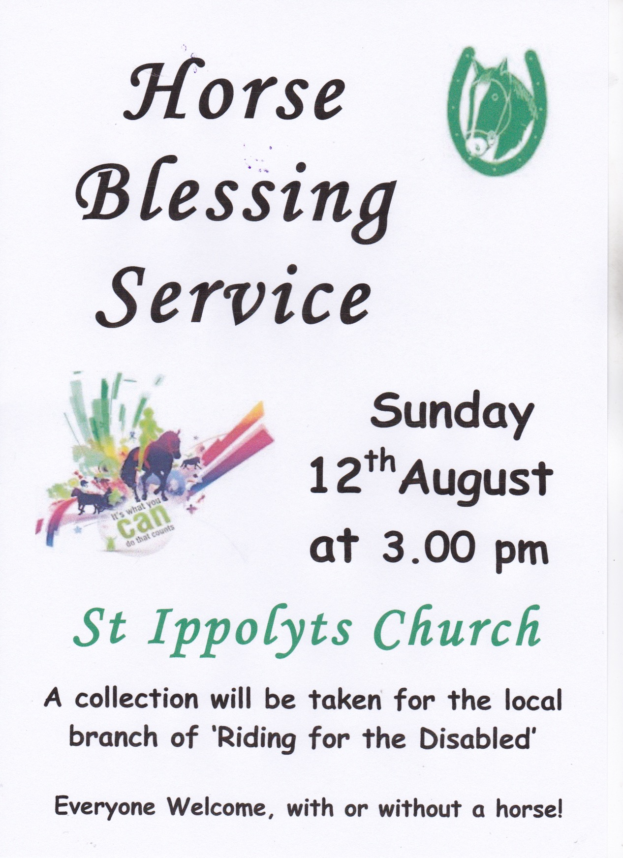 Horse Blessing Service, Sunday 12th August at 15:00hrs