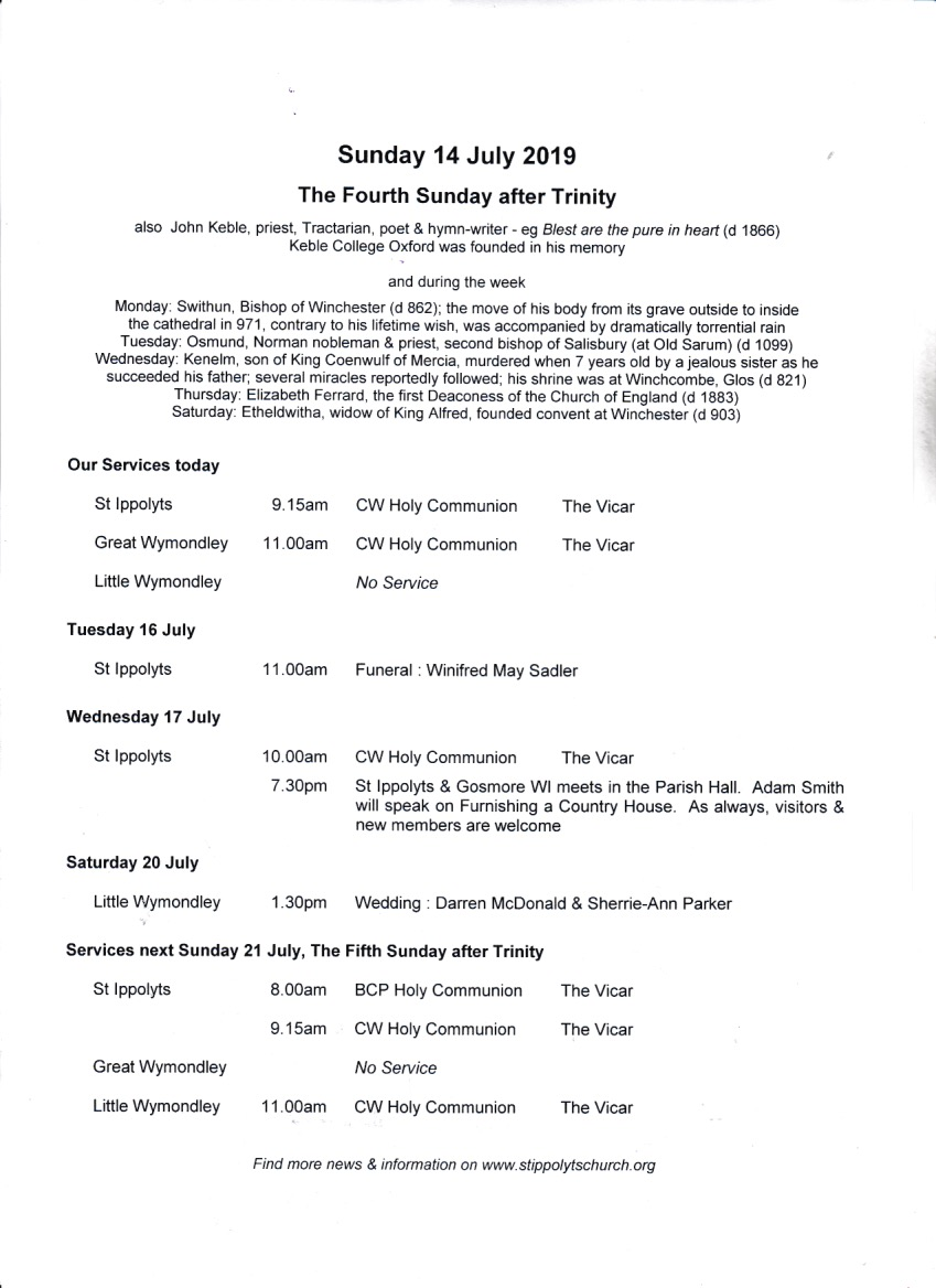 Weekly Pew Sheet, the Fourth Sunday after Trinity, 14 July 2019