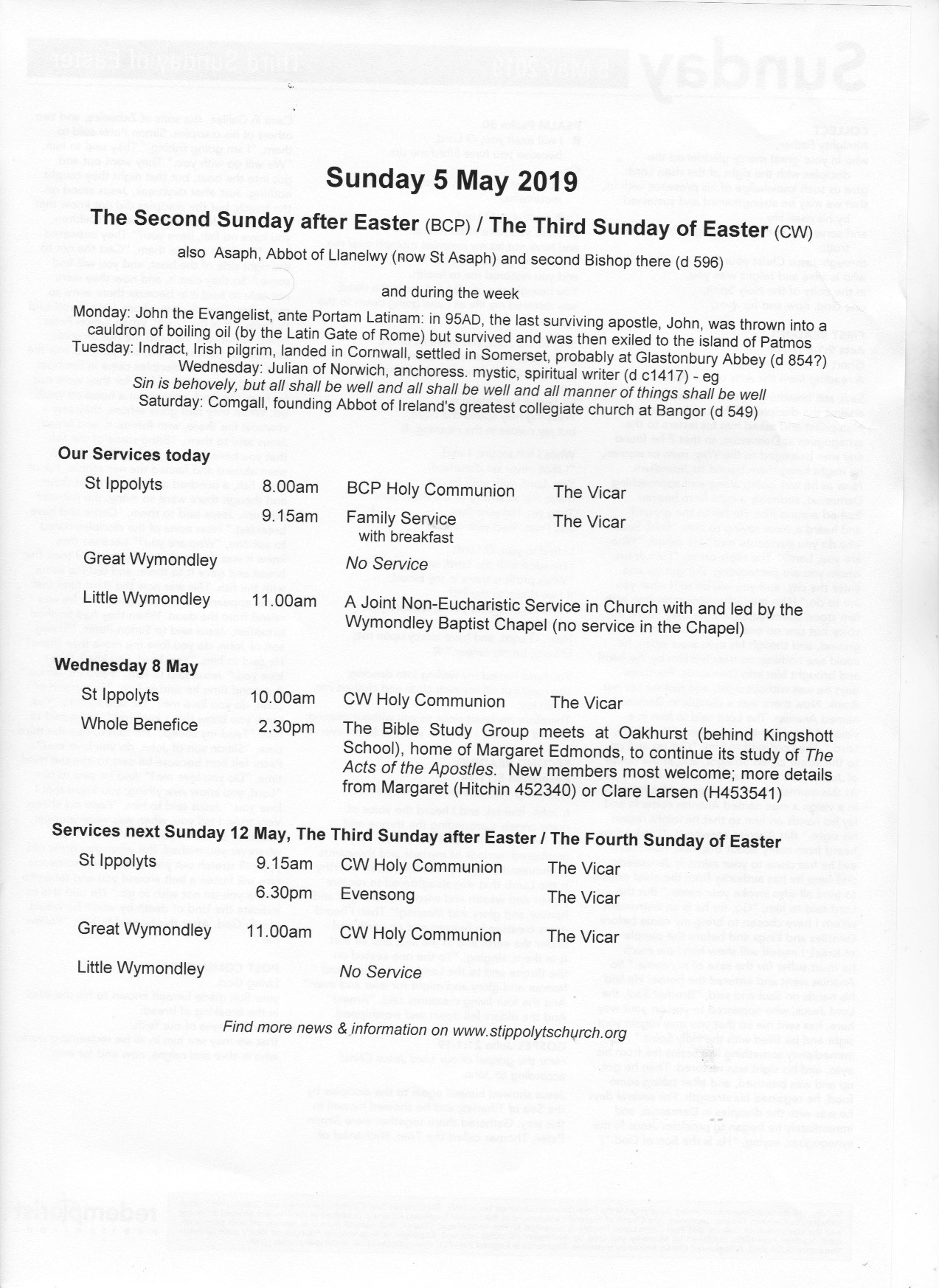 Weekly Pew Sheet, 2nd Sunday after Easter, 5th May 2019