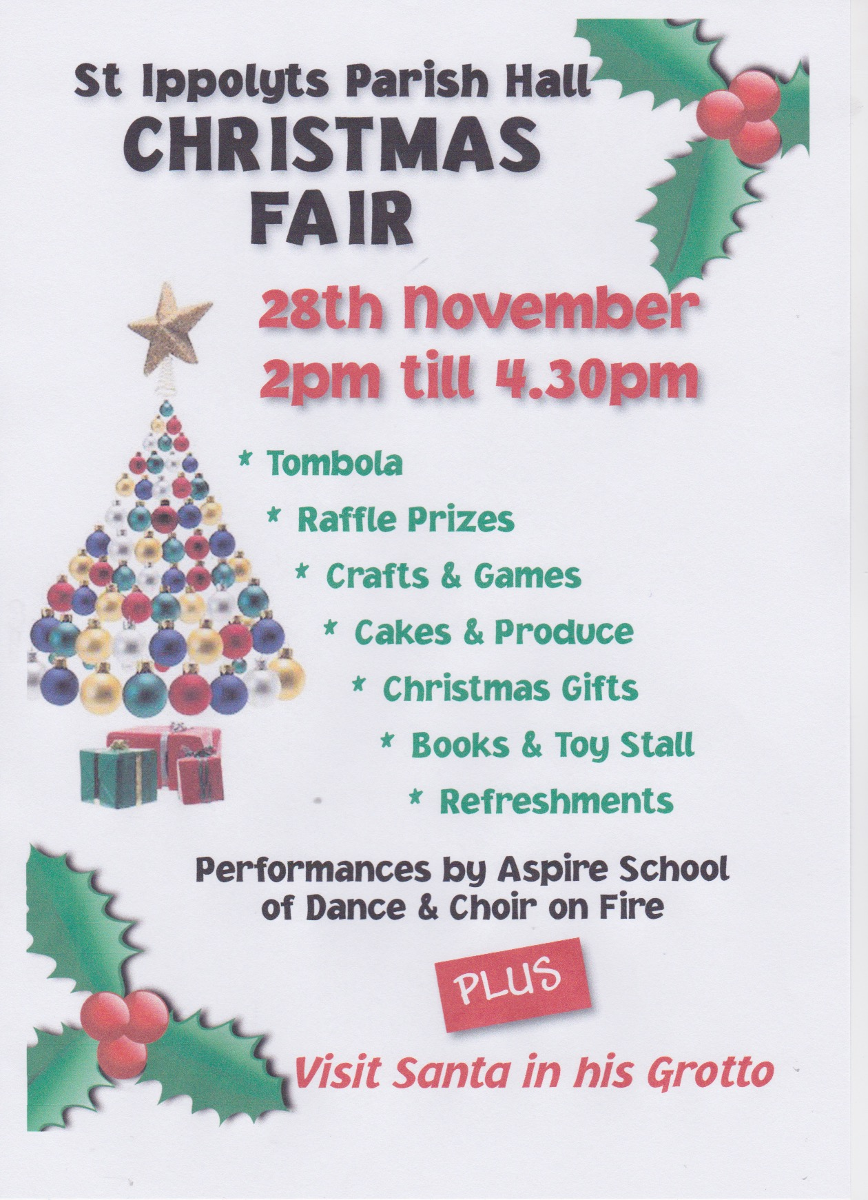 151105 St Ippolyts Parish Hall Christmas Fair Poster