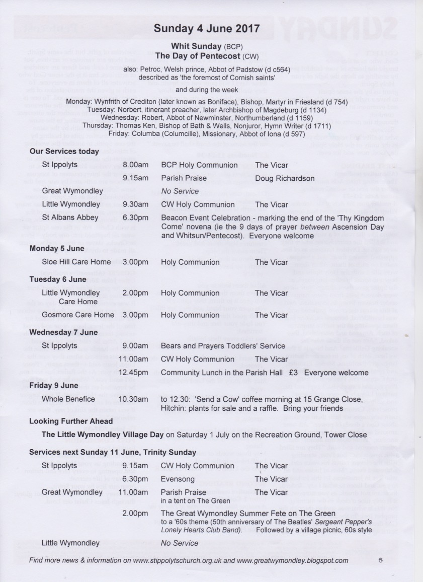 Weekly Pew Sheet, Whit Sunday, the Day of Pentecost, 4th June 2017