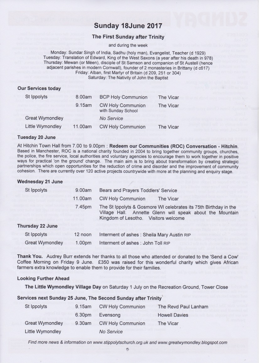 Weekly Pew Sheet, the first Sunday after Trinity, 18th June 2017
