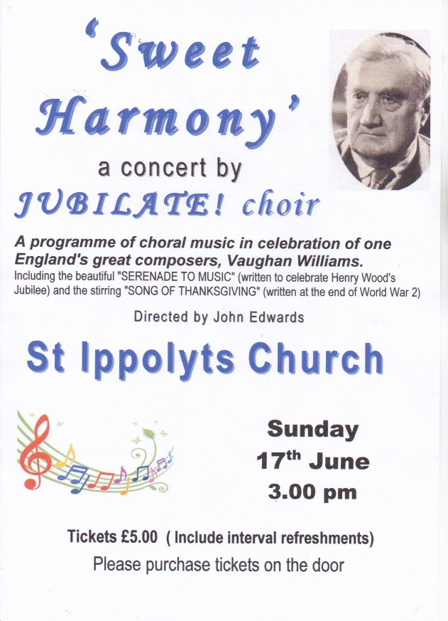 A concert by the Jubilate Choir, Sweet Harmony, 15:00, 17th June at St Ippolyts Church