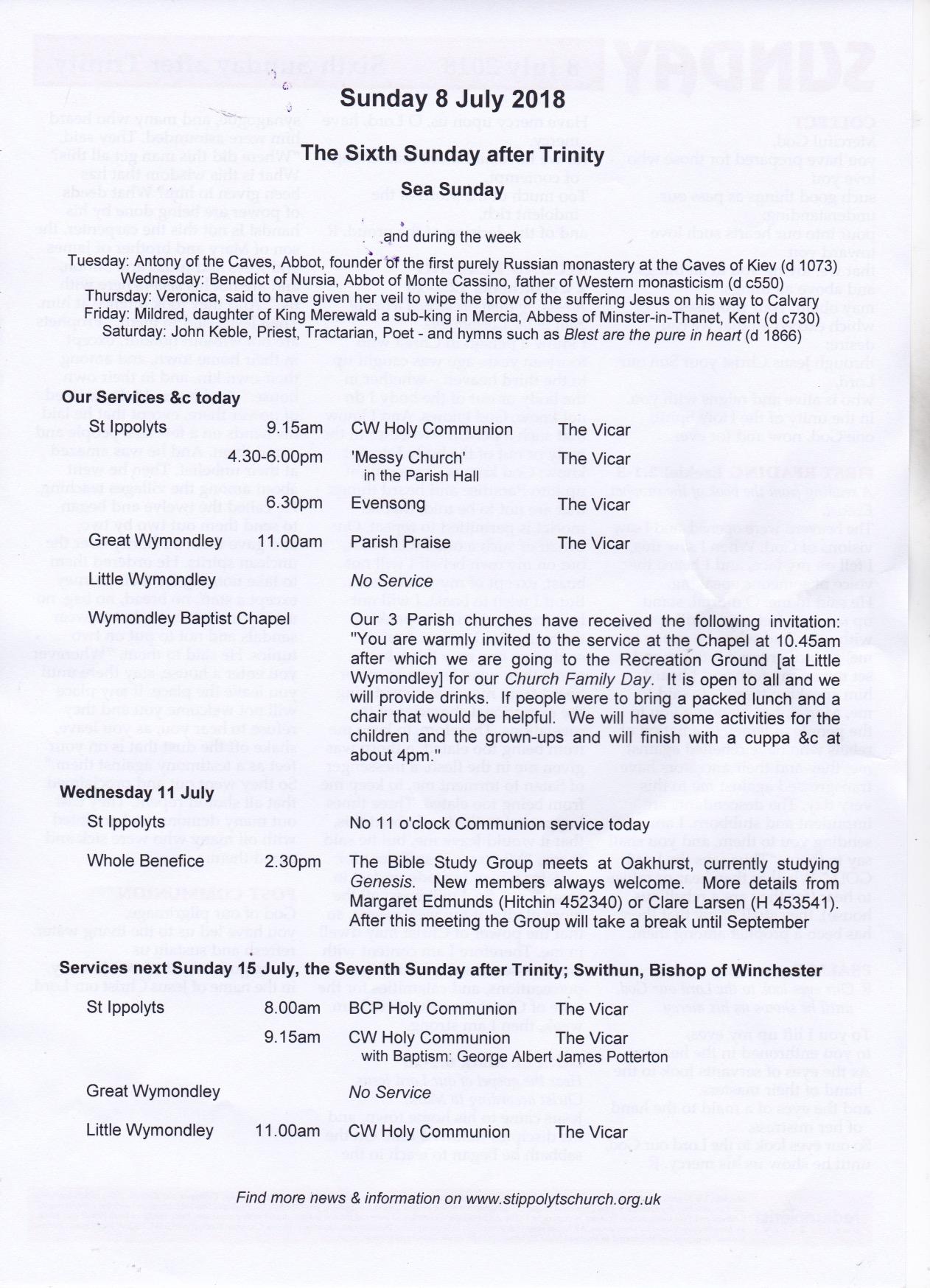 Weekly Pew Sheet, the Sixth Sunday after Trinity, Sea Sunday