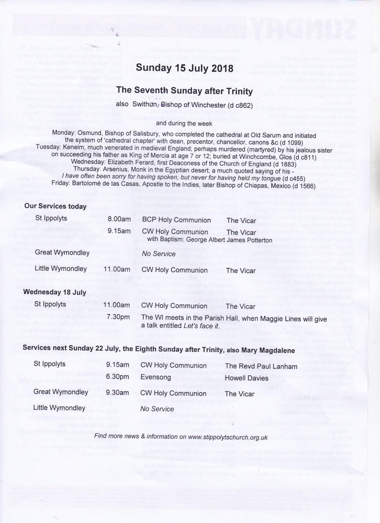 Weekly Pew Sheet, the Seventh Sunday after Trinity.