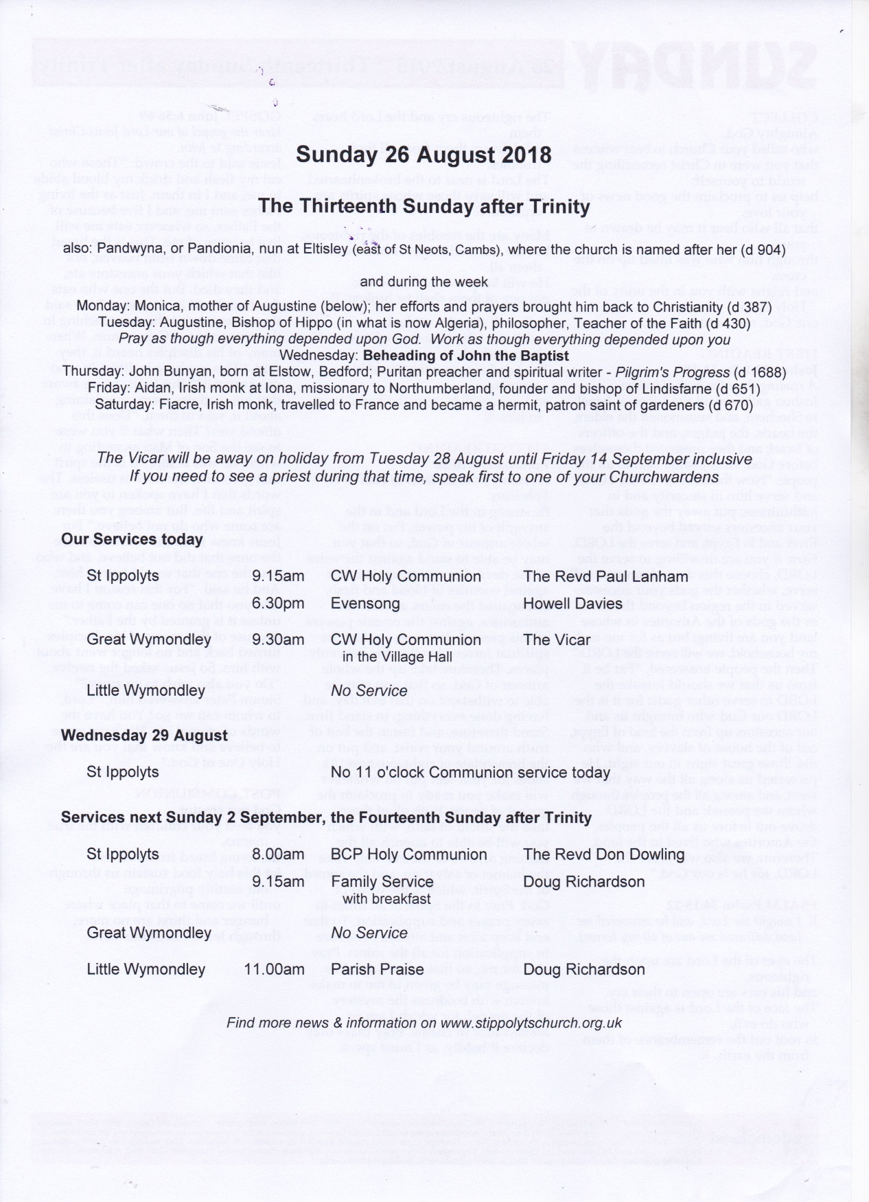 Weekly Pew Sheet, the Thirteenth Sunday after Trinity, 26th August 2016.