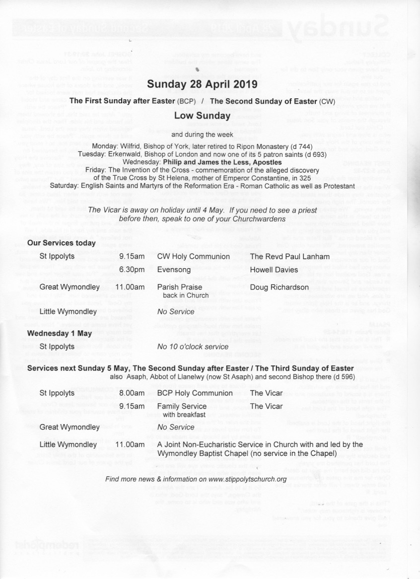 Weekly Pew Sheet, Low Sunday, 28th April 2016