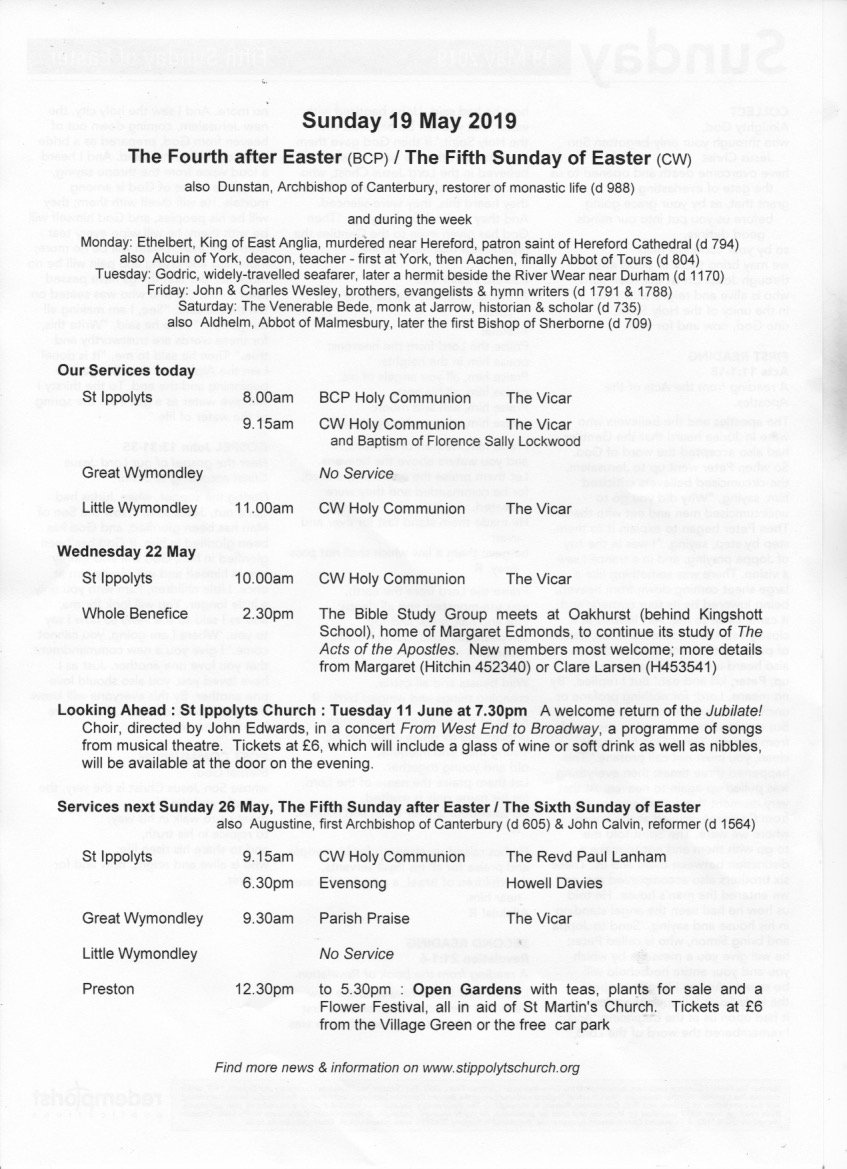Weekly Pew Sheet, the Fourth Sunday after Easter.