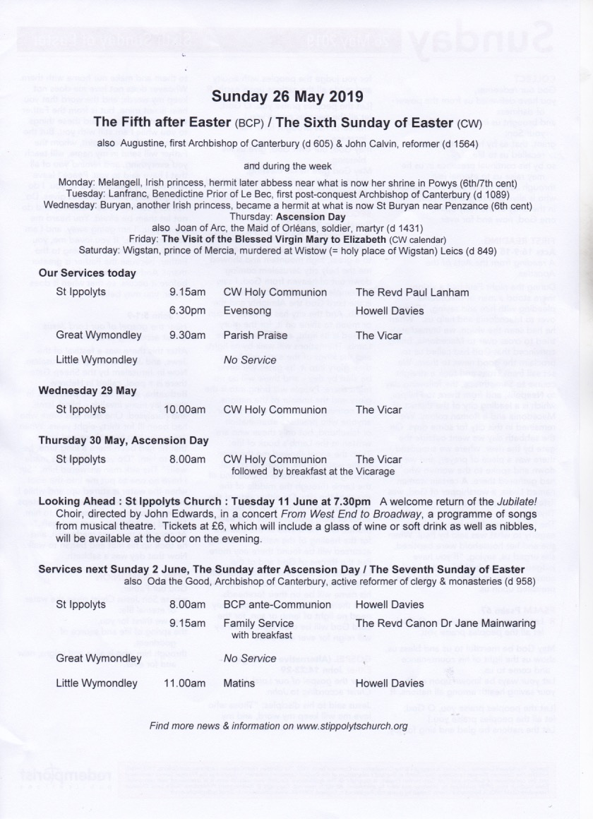 Weekly Pew Sheet, the Fifth Sunday after Easter