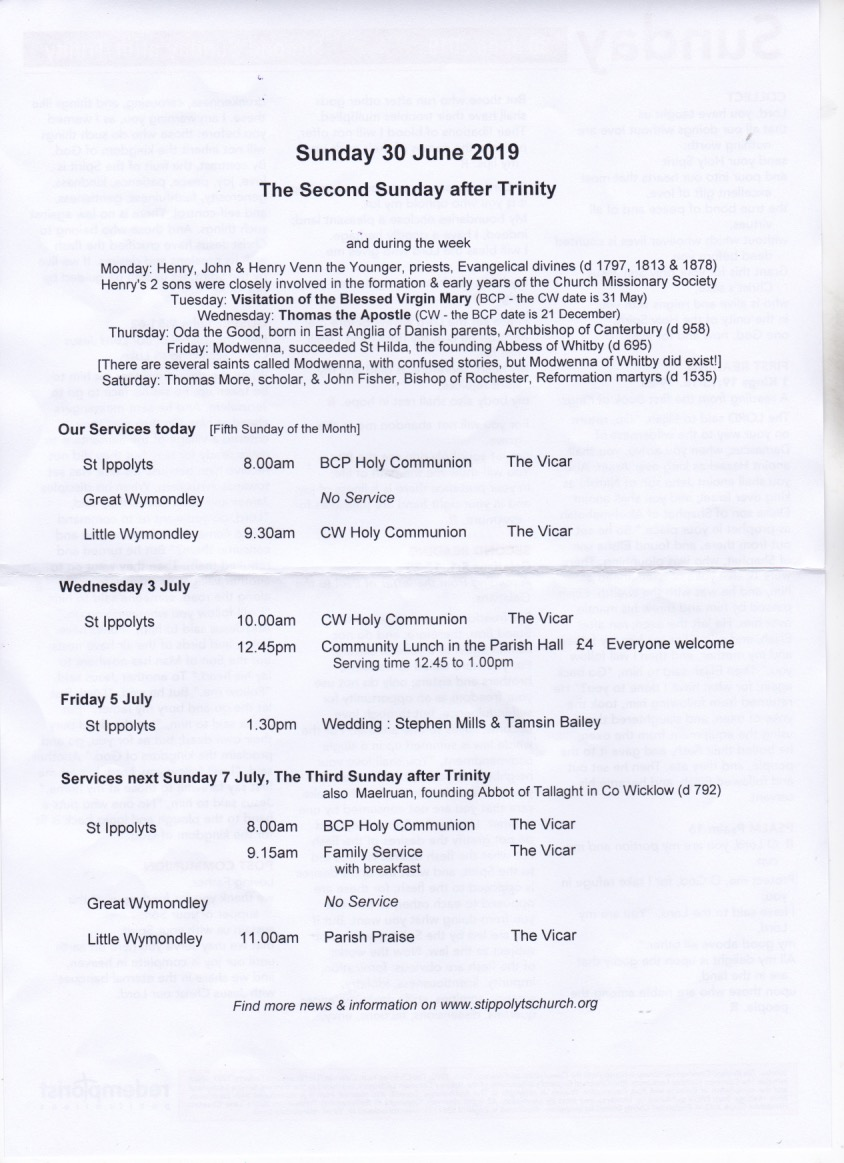 Weekly Pew Sheet, the Second Sunday after Trinity, 30 June 2019
