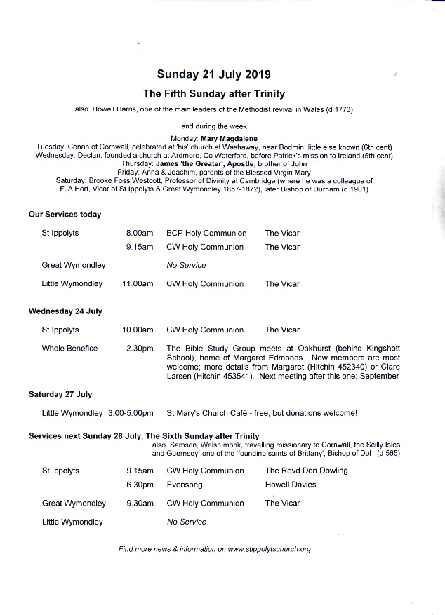 Weekly Pew Sheet, the Fifth Sunday after Trinity, 21st July 2019