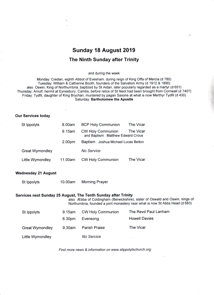 Weekly Pew Sheet, the Ninth Sunday after Trinity, 18th August 2019.