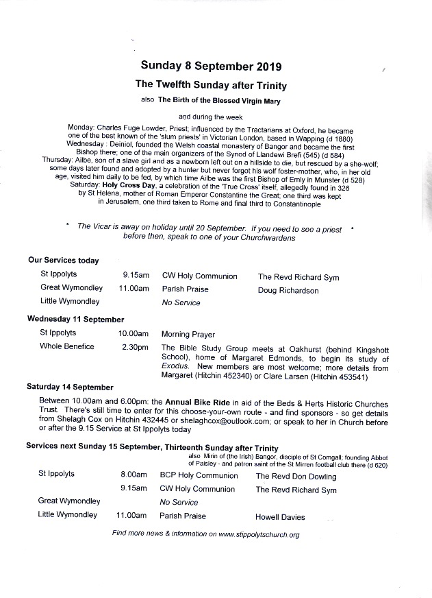 Weekly Pew Sheet, the Twelfth Sunday after Trinity, 8th September 2019