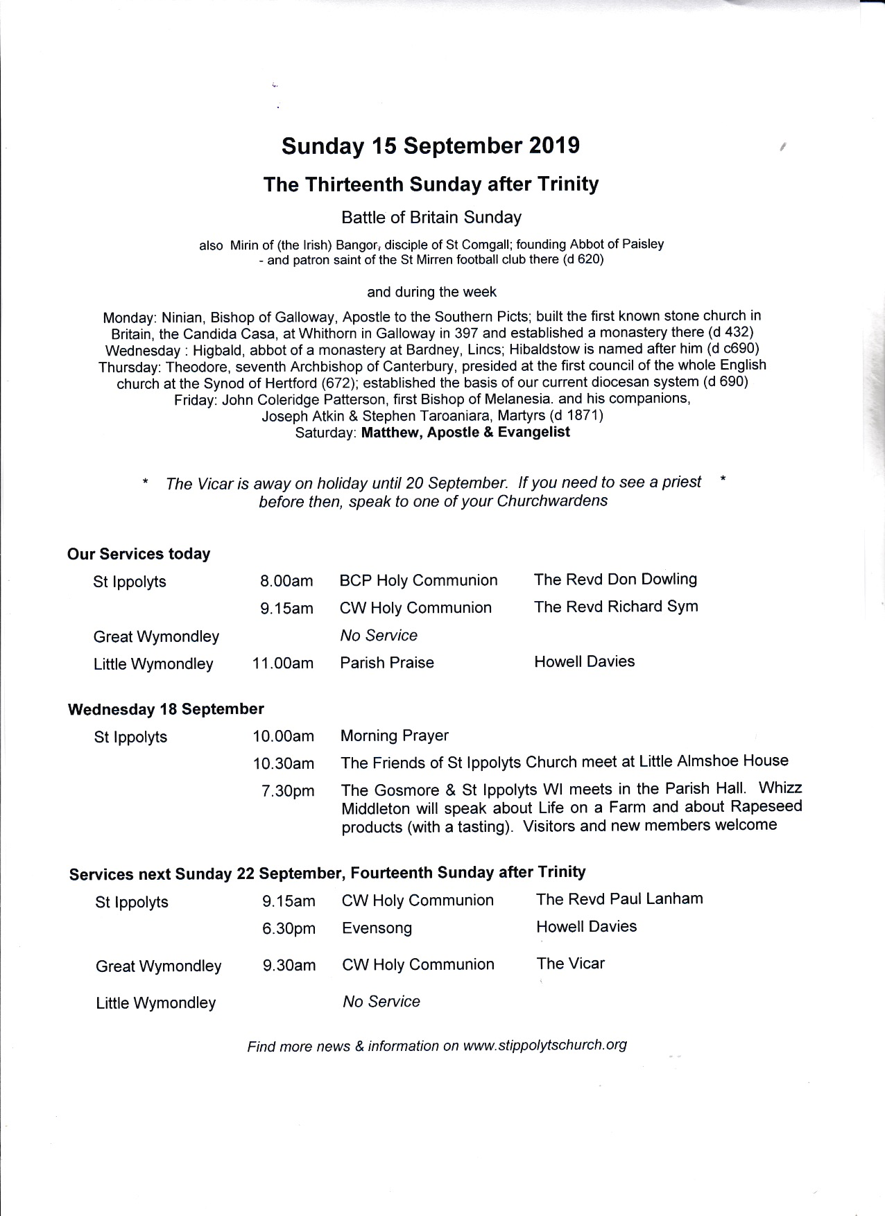 Weekly Pew Sheet, the Thirteenth Sunday after Trinity, 15th September 2019