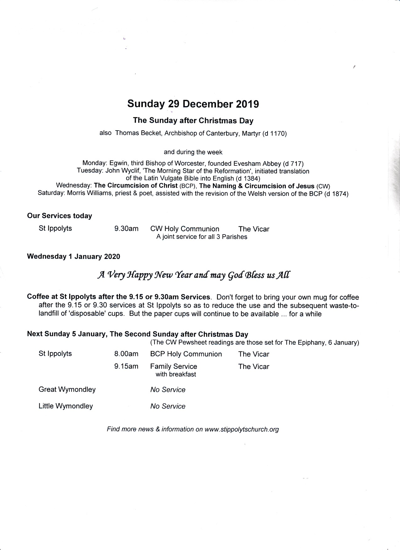 Weekly Pew Sheet, The Sunday after Christmas Day, 29th December 2019