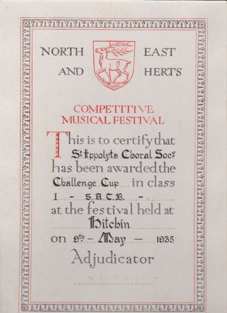 19350509 Challenge Cup in  class 1 SATB for St Ippolyts Choral society