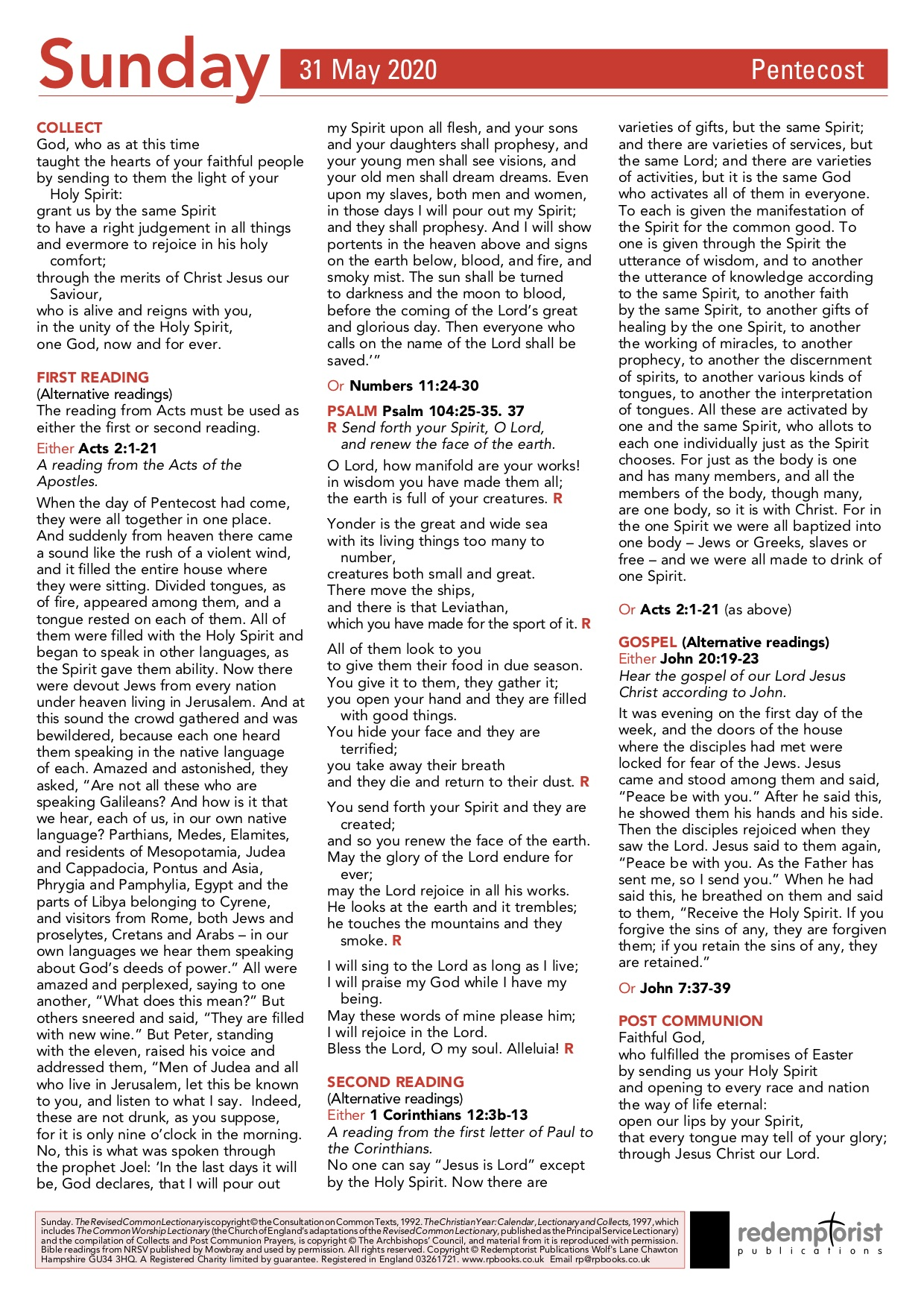 Weekly Pew Sheet- 31st May 2020, Pentecost